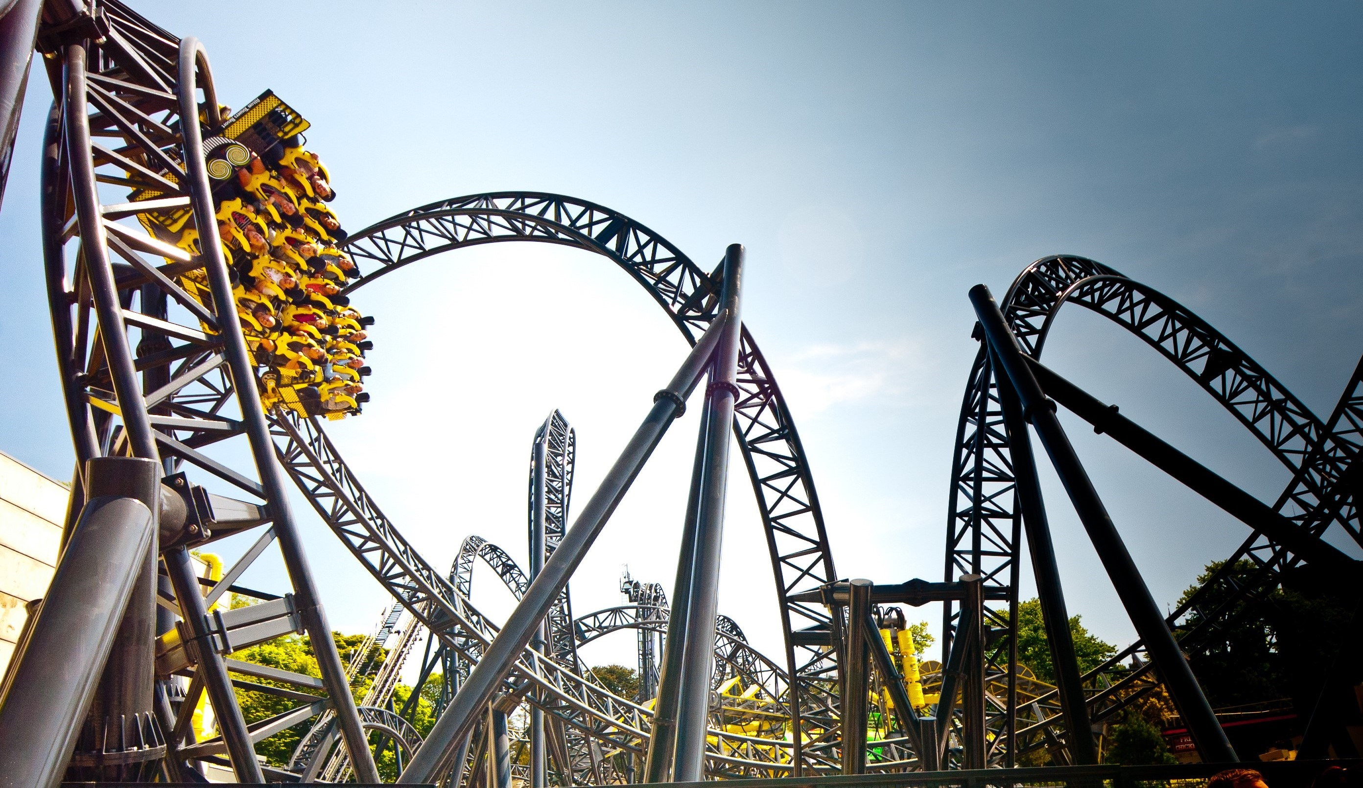 The Smiler world record rollercoaster upside-down at Alton Towers