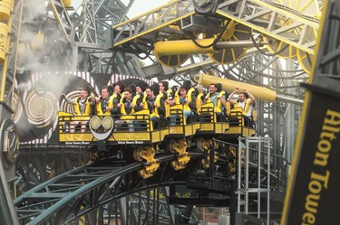 Close-up of The Smiler rollercoaster at Alton Towers Theme Park