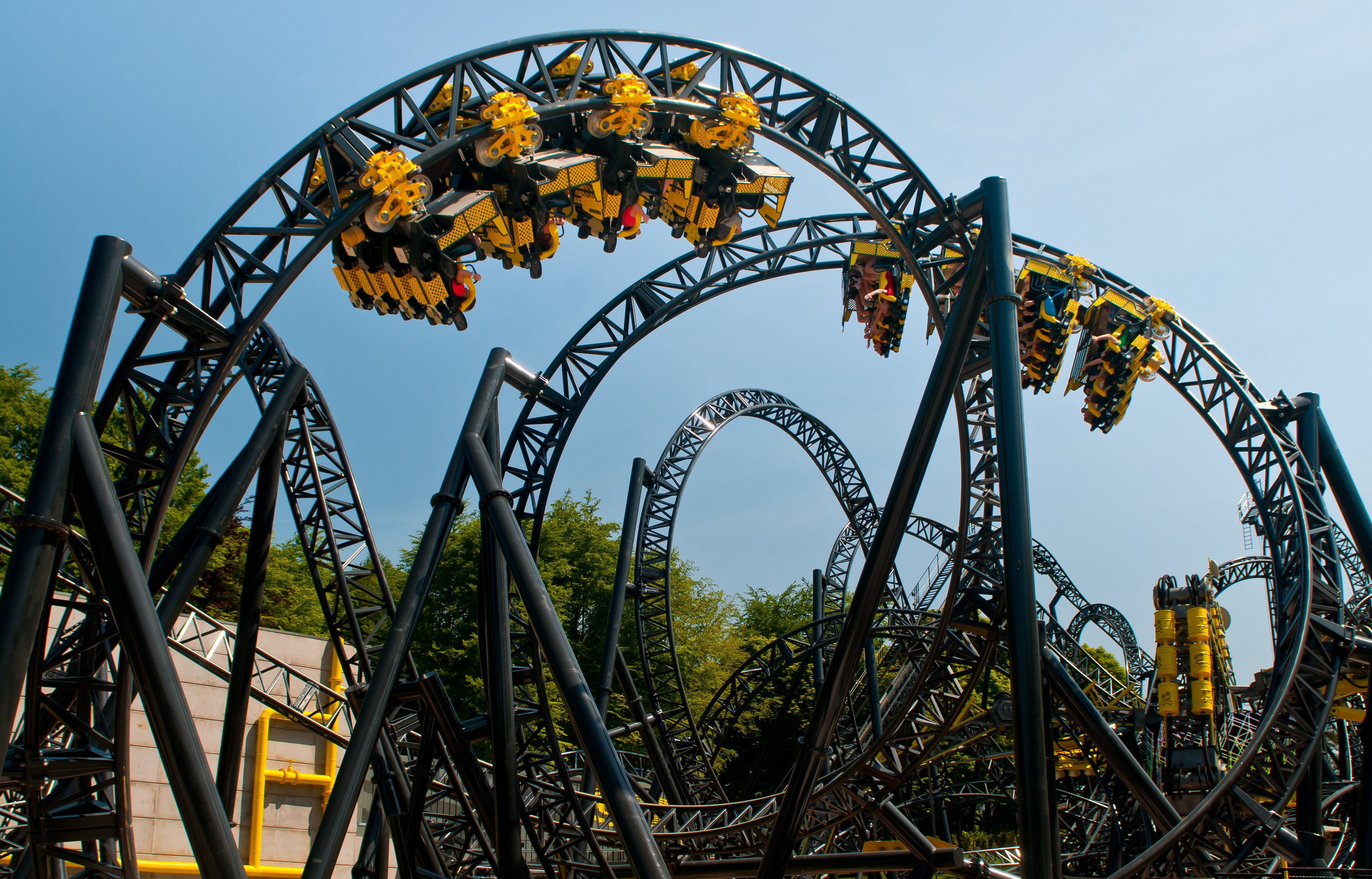 Two trains from The Smiler upside down at Alton Towers Theme Park