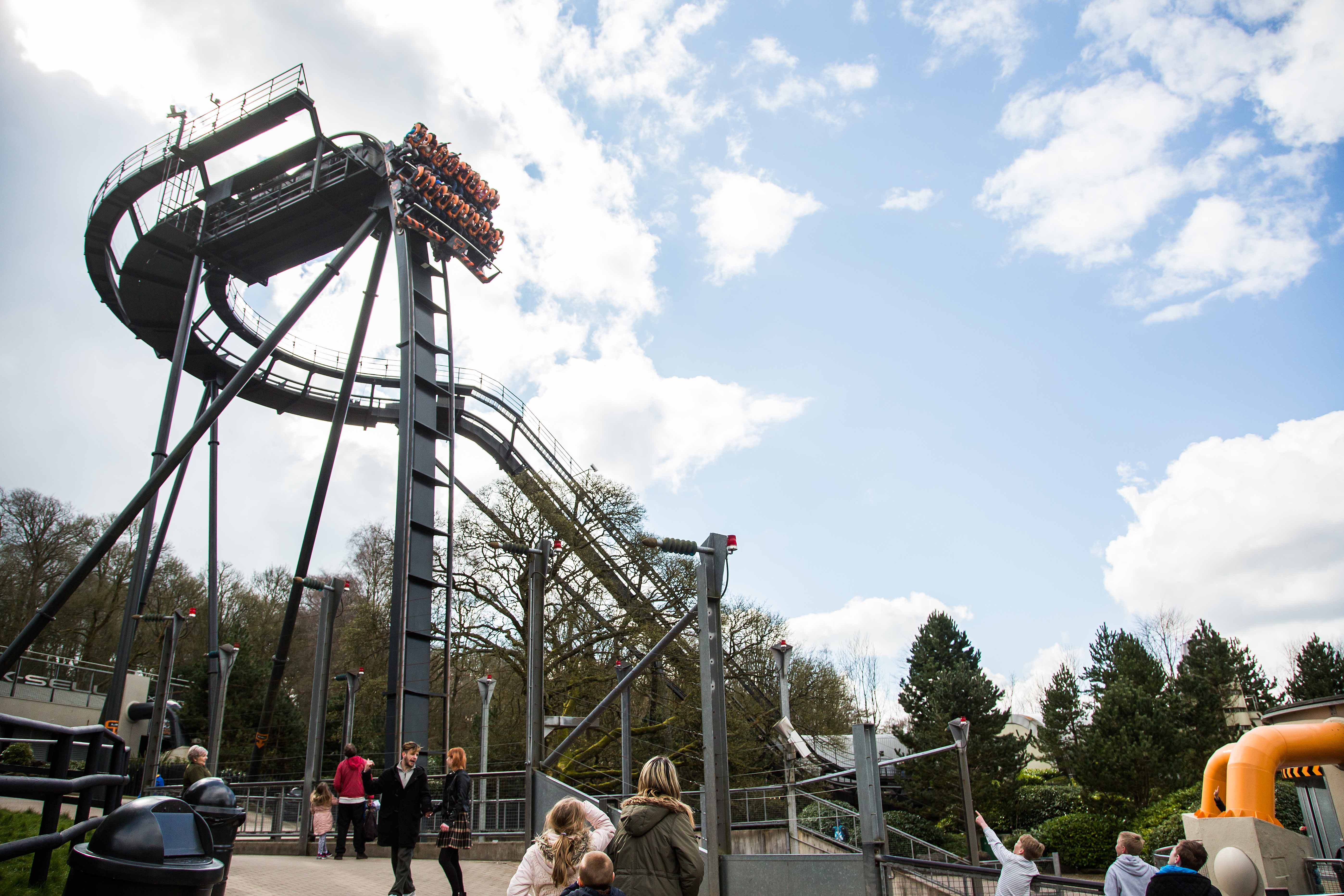 View of Oblivion at Alton Towers Resort's drop, the world's first vertical drop rollercoaster